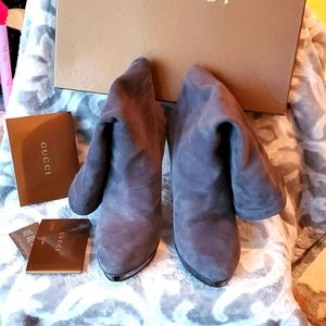 Gucci Booties Suede Gray Ankle 4inch Hill 39=9.5